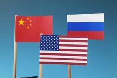 Los estados de la tubería en guerra del negocio Los estados que tienen mundo principal en mundo entero China, Rusia, América imagen de archivo