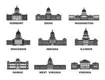 Los Estados Unidos de América Colección del vector de ciudad de Estados Unidos ilustración del vector