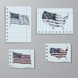 Los Estados Unidos de América, los E.E.U.U., bandera Correspondencia de los E Ejemplo dibujado mano en cuaderno libre illustration