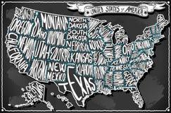 Los Estados Unidos de América en la pizarra de la escritura del vintage libre illustration