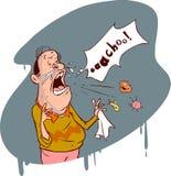 Los estornudos del hombre Foto de archivo libre de regalías