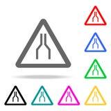 Los estrechos de camino en ambos lados a continuación firman el icono Elementos en los iconos coloreados multi para los apps móvi stock de ilustración