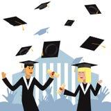 Los estudiantes de la muchacha y del muchacho en vestido académico y casquillo recibieron un diploma y disfrutan el ejemplo plano ilustración del vector
