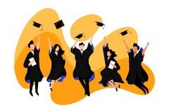 Los estudiantes grad?an de universidad o de universidad Ejemplo plano del vector Ex?menes, educaci?n y concepto de la graduaci?n libre illustration
