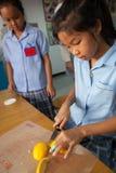 Los estudiantes jovenes toman un curso preliminar en la cocina con su profesor V Imágenes de archivo libres de regalías