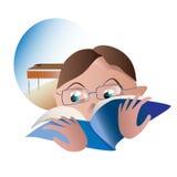 Los estudiantes leyeron un libro en el fondo de la clase Imagen de archivo
