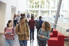 Los estudiantes que sostienen las tabletas y el teléfono hablan en pasillo de la universidad imagenes de archivo