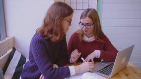 Los estudiantes universitarios de sexo femenino estudian en los amigos de muchachas del café dos que aprenden juntos metrajes