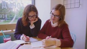 Los estudiantes universitarios de sexo femenino estudian en los amigos de muchachas del café dos que aprenden juntos almacen de metraje de vídeo