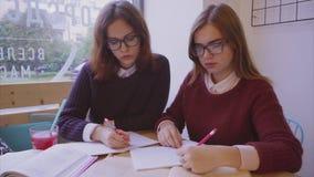 Los estudiantes universitarios de sexo femenino estudian en los amigos de muchachas del café dos que aprenden juntos almacen de video