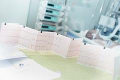Los exámenes médicos resultan en la tabla de los doctores en sala Fotos de archivo libres de regalías