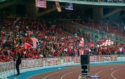 Los fanáticos del fútbol de la alegría de Liverpool en la acción durante LFC viajan a 2015 Imagenes de archivo