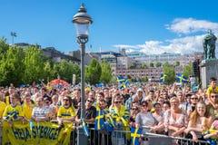 Los fanáticos del fútbol suecos celebran a los campeones europeos Fotos de archivo libres de regalías
