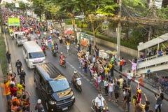 Los fanáticos del fútbol tailandeses celebran después de ganar AFF Suzuki Cup 2014 Foto de archivo