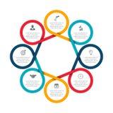 Los felements abstractos del ciclo diagram con 8 pasos Foto de archivo libre de regalías