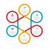 Los felements abstractos del ciclo diagram con 6 pasos Imagen de archivo
