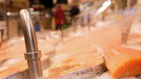 Los filetes de pescados rojos frescos están mintiendo en el hielo en una vitrina del supermercado, refrescada con vapor frío almacen de video