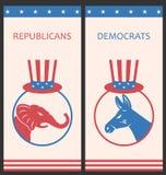 Los folletos para hacen publicidad de los partidos políticos de Estados Unidos Imagenes de archivo