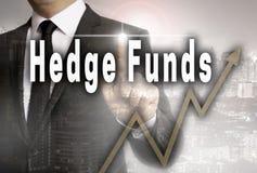Los fondos de cobertura son mostrados por concepto del hombre de negocios Imágenes de archivo libres de regalías