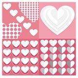 Los fondos Vector el corazón determinado de la tarjeta del día de San Valentín del sistema de modelos inconsútiles GE Fotos de archivo