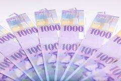 Los francos suizos de billetes de banco extendieron por el piso - curr de Suiza Fotos de archivo libres de regalías