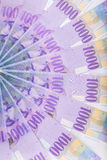 Los francos suizos de billetes de banco extendieron por el piso - curr de Suiza Fotografía de archivo