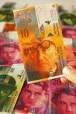 Los francos suizos se cierran para arriba Fotos de archivo