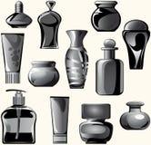Los frascos, tarros, envases, tubos de la carrocería cuidan produ Imagen de archivo