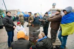 Los fuegos antigubernamentales de la quemadura de los activistas y ocupan el mA Foto de archivo libre de regalías