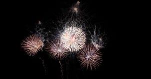 Los fuegos artificiales coloridos de la celebración del Año Nuevo encienden para arriba el cielo con DA Foto de archivo