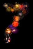 los fuegos artificiales coloridos numeran 7 para 2017 - fuego colorido hermoso Imagen de archivo libre de regalías