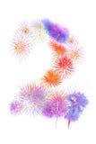los fuegos artificiales coloridos numeran 2 para 2017 - fuego colorido hermoso Fotografía de archivo libre de regalías