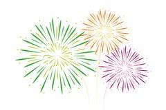 Los fuegos artificiales coloridos ponen verde anaranjado y rosa aislados en blanco stock de ilustración