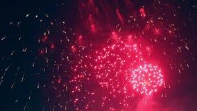 Los fuegos artificiales coloridos se muestran en el cielo