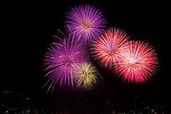Los fuegos artificiales coloridos sobre el cielo nocturno, los fuegos artificiales rojos alinean Imagen de archivo libre de regalías