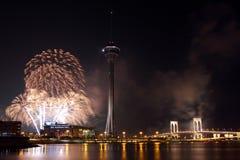 Los fuegos artificiales de Macau Int'l visualizan competencia Imágenes de archivo libres de regalías