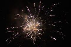 Los fuegos artificiales de Noche Vieja, varios cohetes que estallan el colourfullyin el cielo nocturno hermoso fotografía de archivo libre de regalías