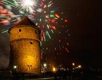Los fuegos artificiales del Año Nuevo Foto de archivo libre de regalías