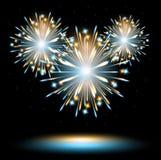 Los fuegos artificiales encienden el azul Fotografía de archivo