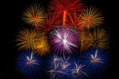 Los fuegos artificiales encienden para arriba el cielo, cinco fuegos artificiales Fotos de archivo