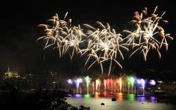 Los fuegos artificiales exhiben con el cielo de plata sobre Ginebra Imagen de archivo libre de regalías
