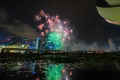Los fuegos artificiales exhiben durante el avance 2014 del desfile del día nacional (NDP) Fotos de archivo