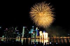 Los fuegos artificiales exhiben durante el desfile del día nacional (NDP) 2013 Imagen de archivo