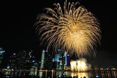 Los fuegos artificiales exhiben durante el desfile del día nacional (NDP) 2013 en Singapur Foto de archivo