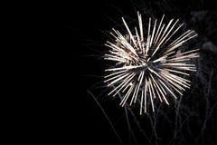Los fuegos artificiales exhiben en fondo oscuro del cielo Imagen de archivo