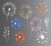Los fuegos artificiales fijaron transparente stock de ilustración