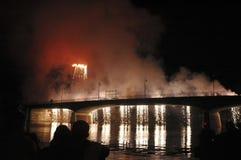 Los fuegos artificiales para el Luminara en Pisa Foto de archivo libre de regalías