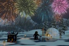 Los fuegos artificiales sobre un lago congelado con los pingüinos, 3d rinden Foto de archivo libre de regalías