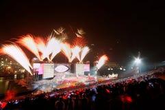 Los fuegos artificiales visualizan durante NDP 2009 Fotos de archivo