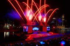 Los fuegos artificiales visualizan durante NDP 2009 Imagenes de archivo